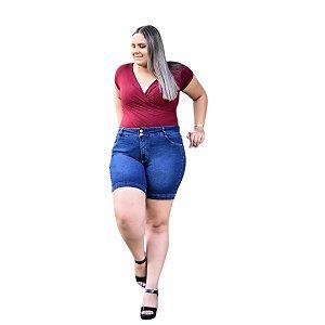 Bermuda Feminina Plus Size Jeans Báisca