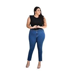 Calça Feminina Plus Size Slim Fit Cropped