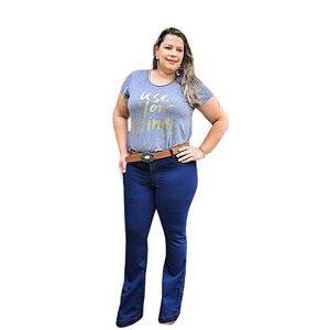 Calça Feminina Plus Size Flare Jeans com Cinto