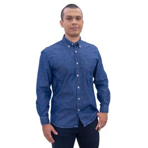 Camisa Masculina Plus Size Jeans Manga Longa