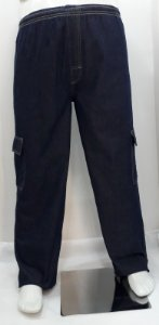 Calça Masculina Plus Size Jeans com Elástico e Bolso Cargo
