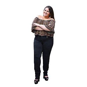 Calça Feminina Plus Size Sarja Preta