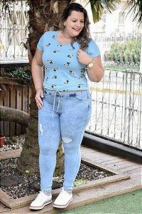 Calça Feminina Plus Size Jeans Esportiva