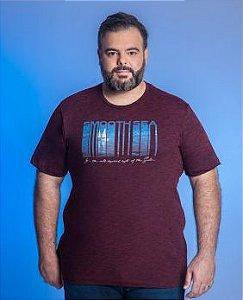Camiseta Masculina Plus Size Gola Careca Estampada - Cores Diversas