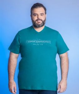 Camiseta Masculina Plus Size Gola V Estampada - Cores Diversas