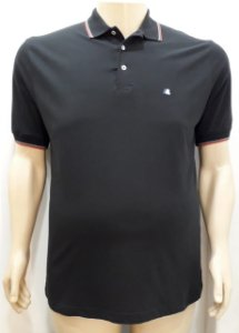 Camiseta Masculina Plus Size Polo Piquet Preto