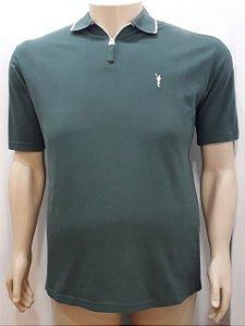 Camiseta Masculina Plus Size Polo Piquet Verde Musgo