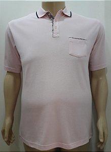 Camiseta Masculino Plus Size Polo Piquet Rosa