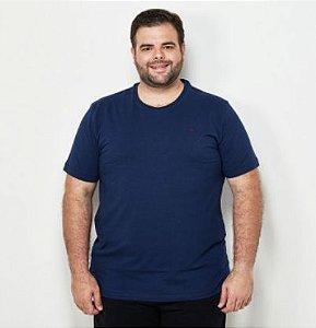 Camiseta Masculina Plus Size Gola Careca Ton Sur ton Marinho