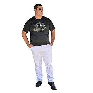 Calça Masculina Plus Size Sarja Slim Fit Básica Branca