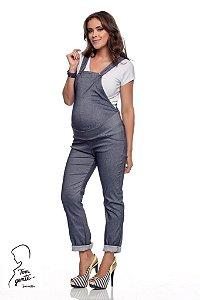 Macacão Gestante Sarja Bengaline Jeans