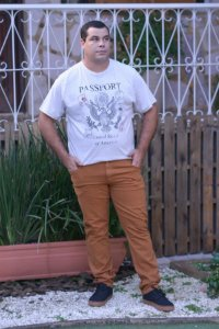Calça Masculina Plus Size Tradicional Sarja Ferrugem