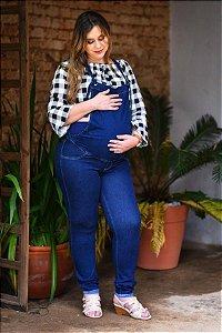 Macacão Gestante Cropped Jeans
