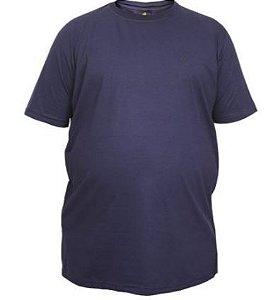 Camiseta Masculina Plus Size Gola Careca Lisa Azul Marinho