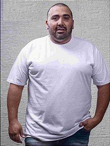 Camiseta Masculina Plus Size Gola Careca Lisa Banca