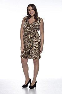Vestido Gestante Transpassado Animal Print Amamentação