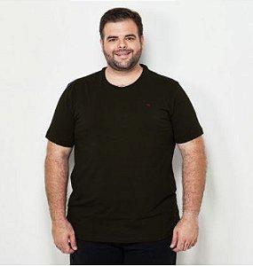 Camiseta Masculina Plus Size Gola Careca com Lycra Preta