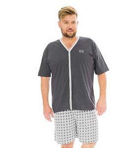 Pijama Masculino Plus Size Manga Curta Aberto