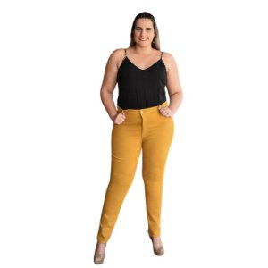 Calça Feminina Plus Size Skinny Sarja