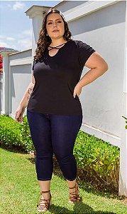 Blusa Feminina Plus Size Decote Trançado