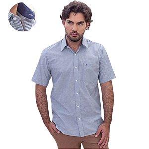 Camisa Masculina Plus Size Manga Curta Azul