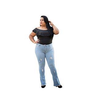 Calça Feminina Plus Size Flare Jeans De Lave