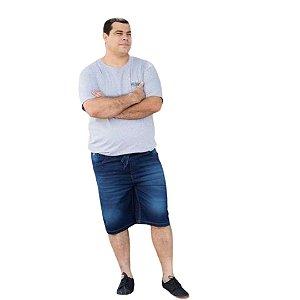 Bermuda Masculina Plus Size Jogger com Cordão jeans