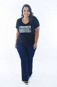 Blusa Feminina Plus Size Decote V Estampa Prateada Woman