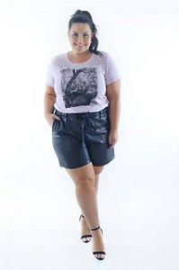 Blusa Feminina Plus Size Detalhe nos Ombros e Estampa