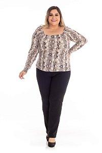 Blusa Feminina Plus Size Decote Quadrado