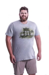 Camiseta Masculina Plus Size Gola Careca Estampada