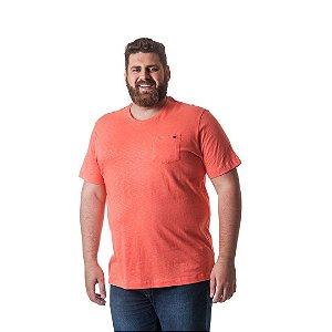 Camiseta Masculina Plus Size Gola Careca com Bolso