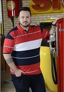 Camiseta Polo Masculina Plus Size Com Lycra