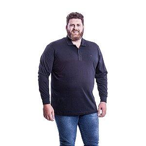 Camiseta Masculina Plus Size Polo Manga Longa Ton Sur Ton