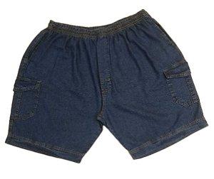 Bermuda Masculina Plus Size  Jeans Cargo com Elástico