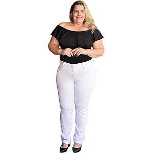 Calça Feminina Plus Size Cigarrete Sarja