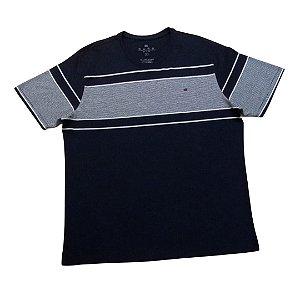 Camiseta Masculina Plus Size Gola Careca Listras