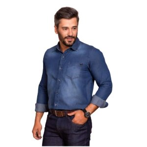 Camisa Masculina Plus Size Jeans Poggio Manga Longa