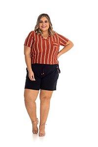 Blusa Feminina Plus Size Viscopoli Listras