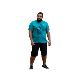 Camiseta Masculina Plus Size Gola Careca Estampa