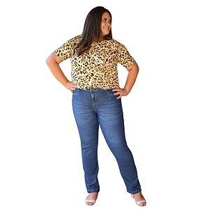 Calça Feminina Plus Size Jeans Reta