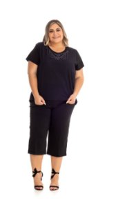 Blusa Feminina Plus Size com Strass