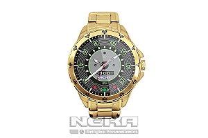 Relógio Masculino Dourado Painel Velocímetro Fusca 160km 5776