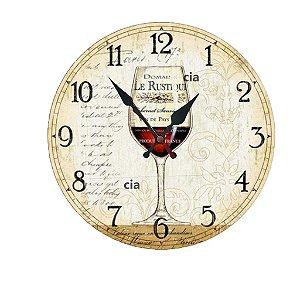 Relógio de Parede Taça Vinho com 49 cm