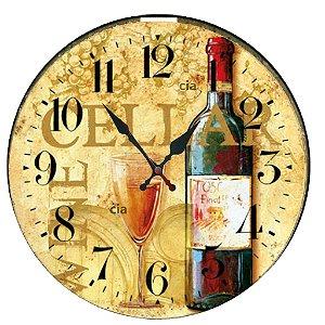 Relógio de Parede Vinho com 49 cm
