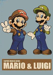 Placa MDF 28 x 20 - Mario & Luigi