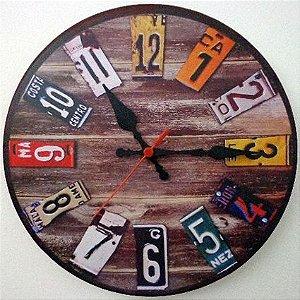 Relógio de Parede Placas de Carro com 28 cm