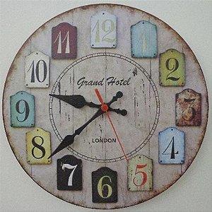 Relógio de Parede Grand Hotel London com 28 cm