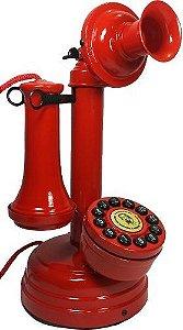Telefone de mesa modelo castiçal vermelho no estilo Retrô