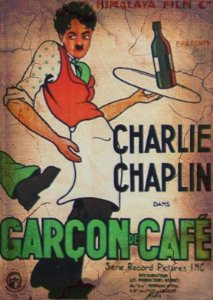 Placa MDF 28 x 20 - Charlie Chaplin Garçon de Café